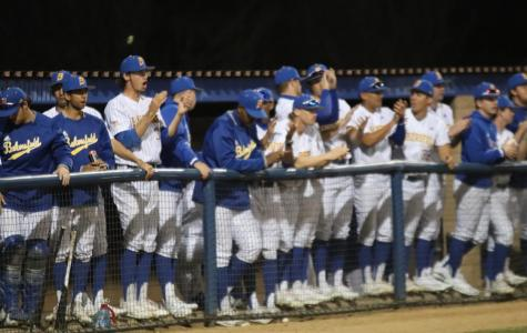 Baseball team celebrates a play during the opening night game against Washington State Cougars on Friday Feb. 14th