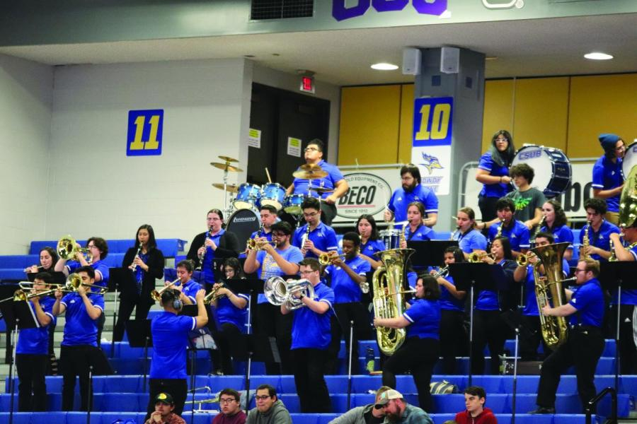 The Pep Band plays during a CSUB basketball game at the Icardo Center on Feb. 15.