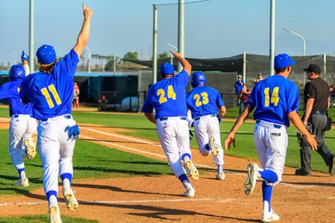 CSUB Baseball team celebrates walk off victory against Washington State Cougars on Feb 15, 2020 at Hardt Field.