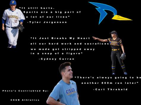 CSUB senior athletes Tyler Jorgensen, Cydney Curran, and Curt Threlkeld comment about the loss their senior seasons.  collage by: Mari Woodmansee