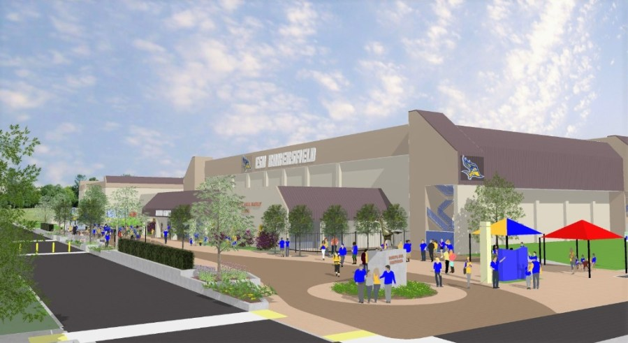 Graphic of what Harvey Hall Plaza will look like upon completion. Graphic provided by C.S.U.B. Athletics Department