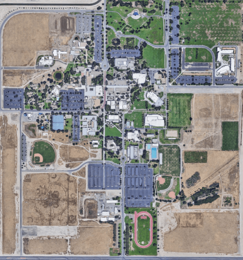 Arial view of California State University, Bakersfield. Google Maps screenshot.