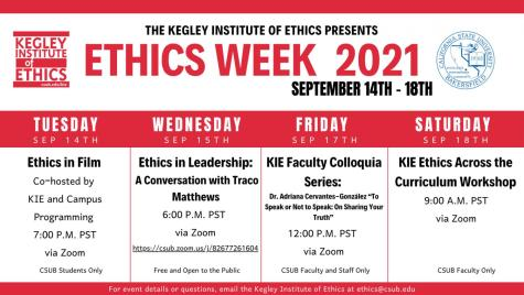 Schedule for Fall 2021 Ethics Week, hosted by The Kegley Institute of Ethics at CSU Bakersfield.