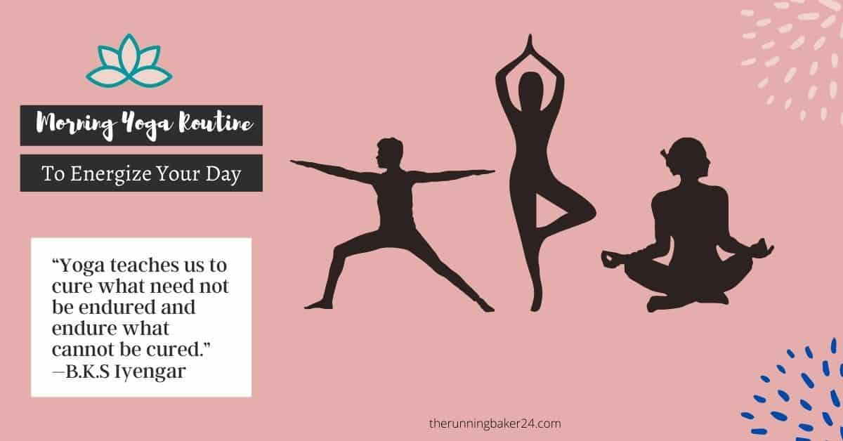 poster for morning yoga with quote and 3 yoga poses illustration