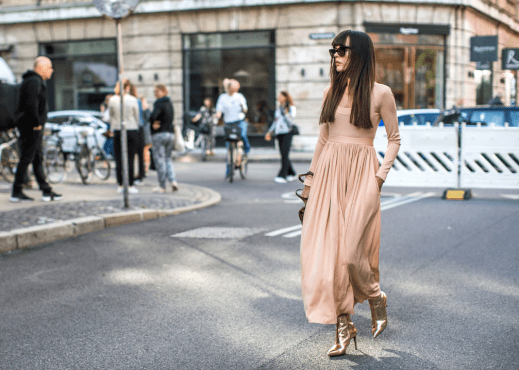 Oh My Gorgeous! This look is everything for a street style empress. Snapped on the street during Copenhagen Spring 2017 Fashion Week, the splendor of these metallic ankle booties brings a majestic aurora to this attire. Just dying right now. PC: Harpers Bazaar