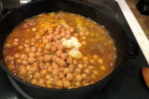 Add salt, spices and beans