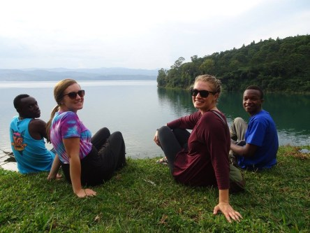 Innocent and Mucho show Kristy and me Lake Kivu.