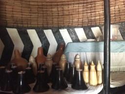 Carved milk jugs in the milk hut