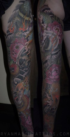 healed kannon/dragon/peony leg on bryan, 2012.i think this was my first-ever proper leg sleeve.