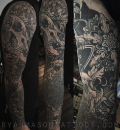 healed bones/mandala sleeve on rob, 2015. there are a few coverups on the lower part of this arm.