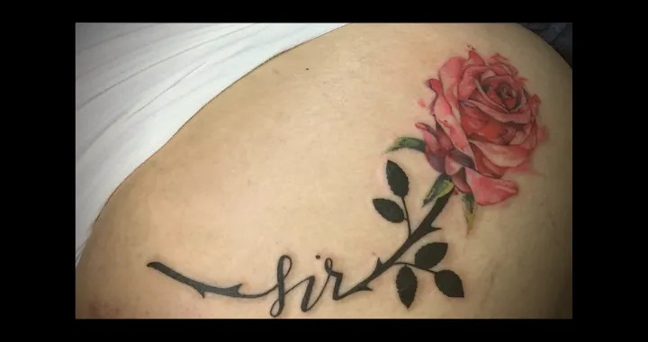 Spanking and Me - picture of Emma's bottom with rose tattoo