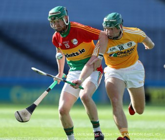 Nial McKenna in action against Carlow's Paul Coady. The Sarsfields man played well when introuduced as a first half substitute
