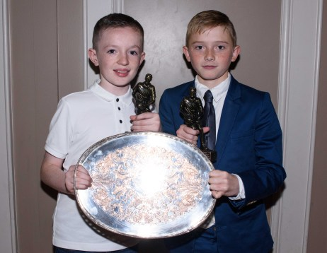 Jay O'Hare and Cormac McGarry who were crowned u12 most improved player of the year and player of the year.