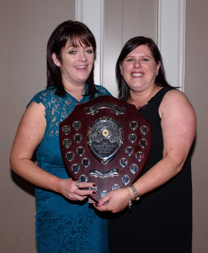 Clare Gough (right) was dAldergrove GAC Club Person of the Year award. Also pictured is Pauline Graham.