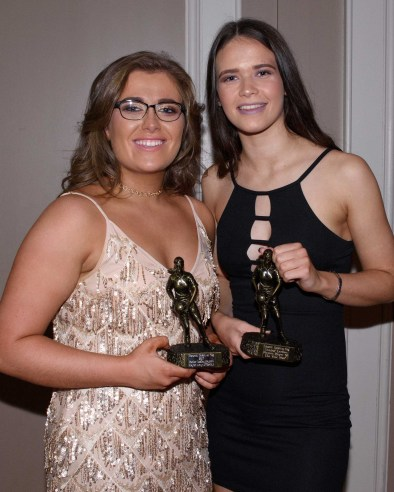 Senior ladies Amy McCarthy and Nicole Jones share the players player of the year award.