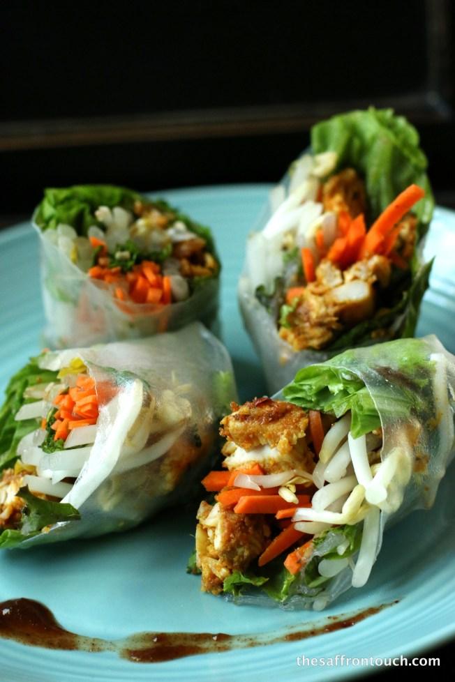 Achari chicken spring roll