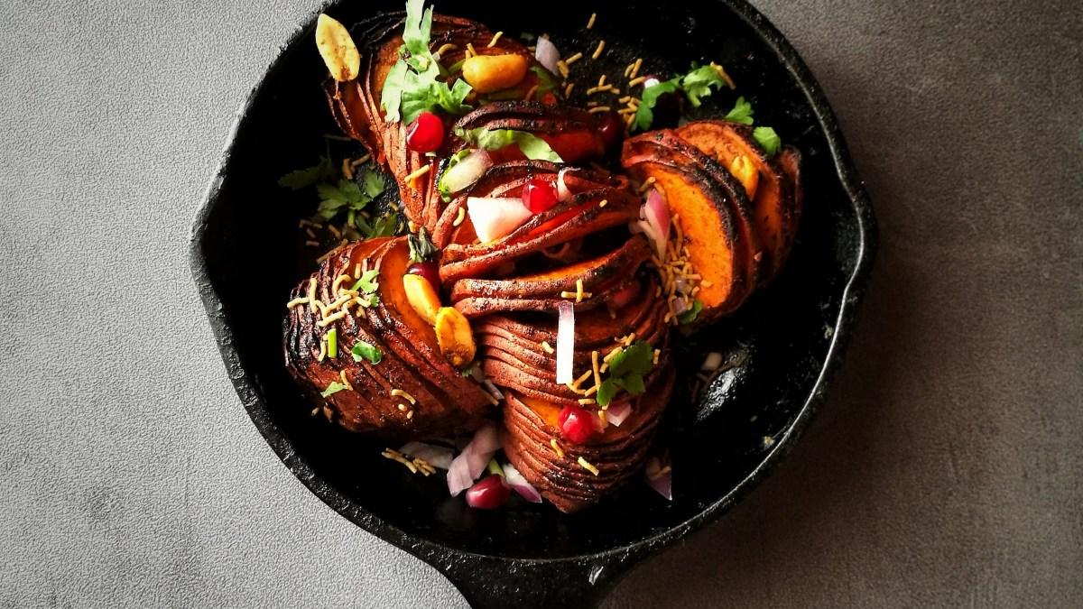 Sweet Potato Hasselback Dabeli