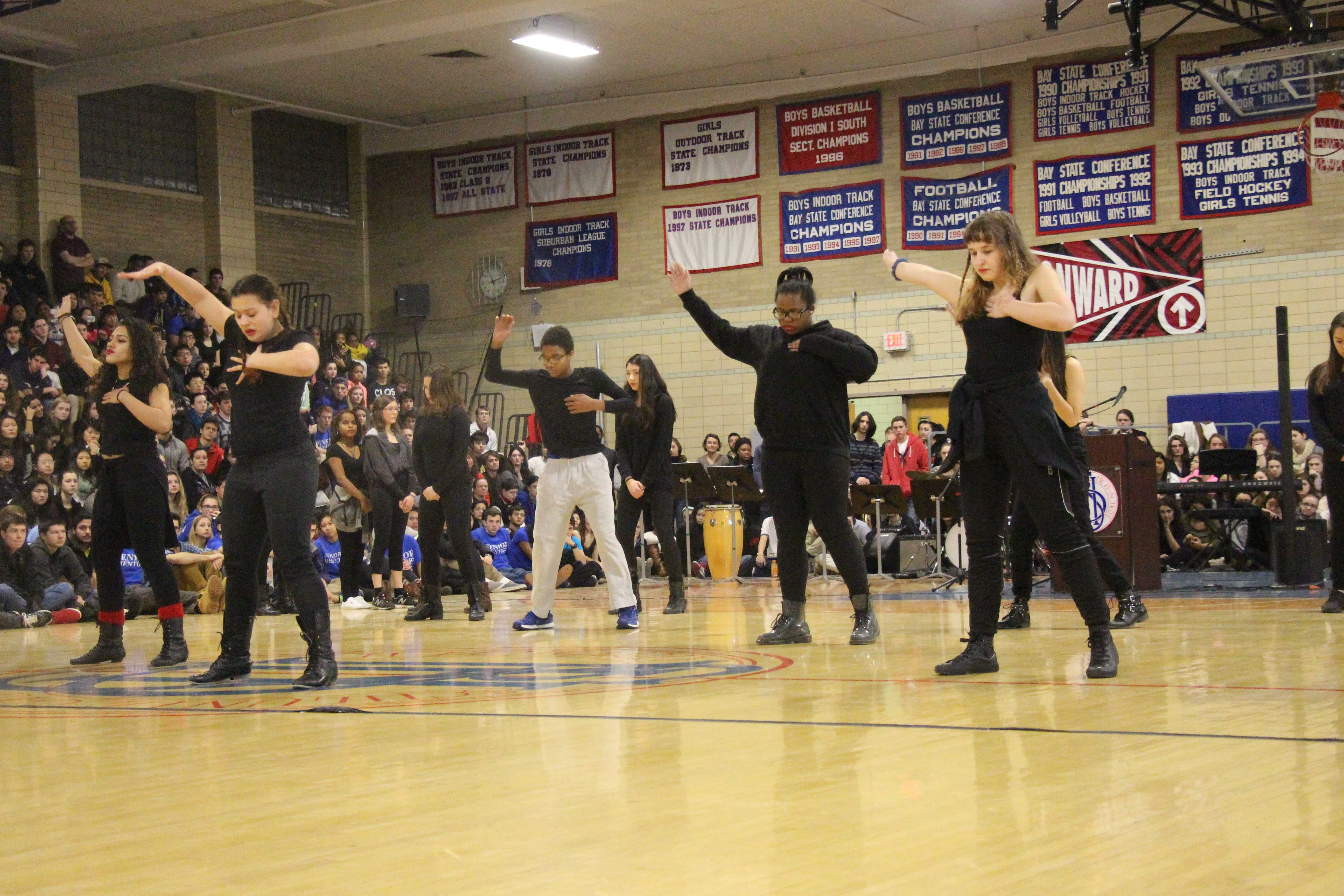 The African, Latin and Hip Hop Dance class performs at the MLK Day assembly on 1/15/15.