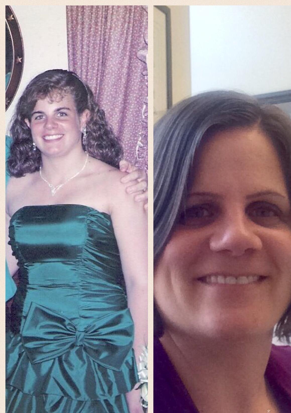 Alumna+Associate+Dean+Lisa+Redding+%2789+at+the+high+school%27s+Prom+in+1989+%28left%29+and+today+%28right%29.++