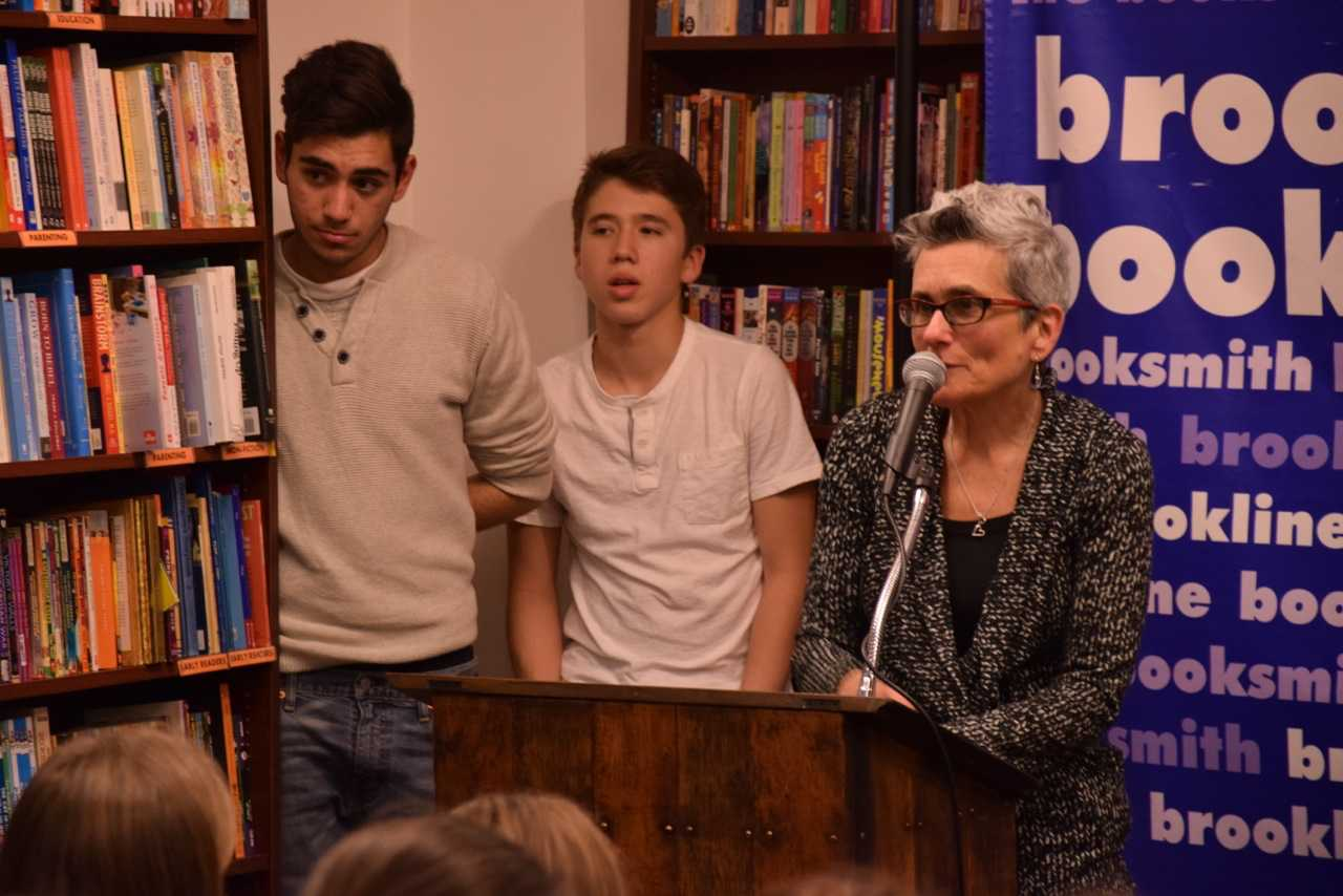Cohen speaks at the 21st annual poetry fest at Brookline Booksmith. Sam Klein/Sagamore staff