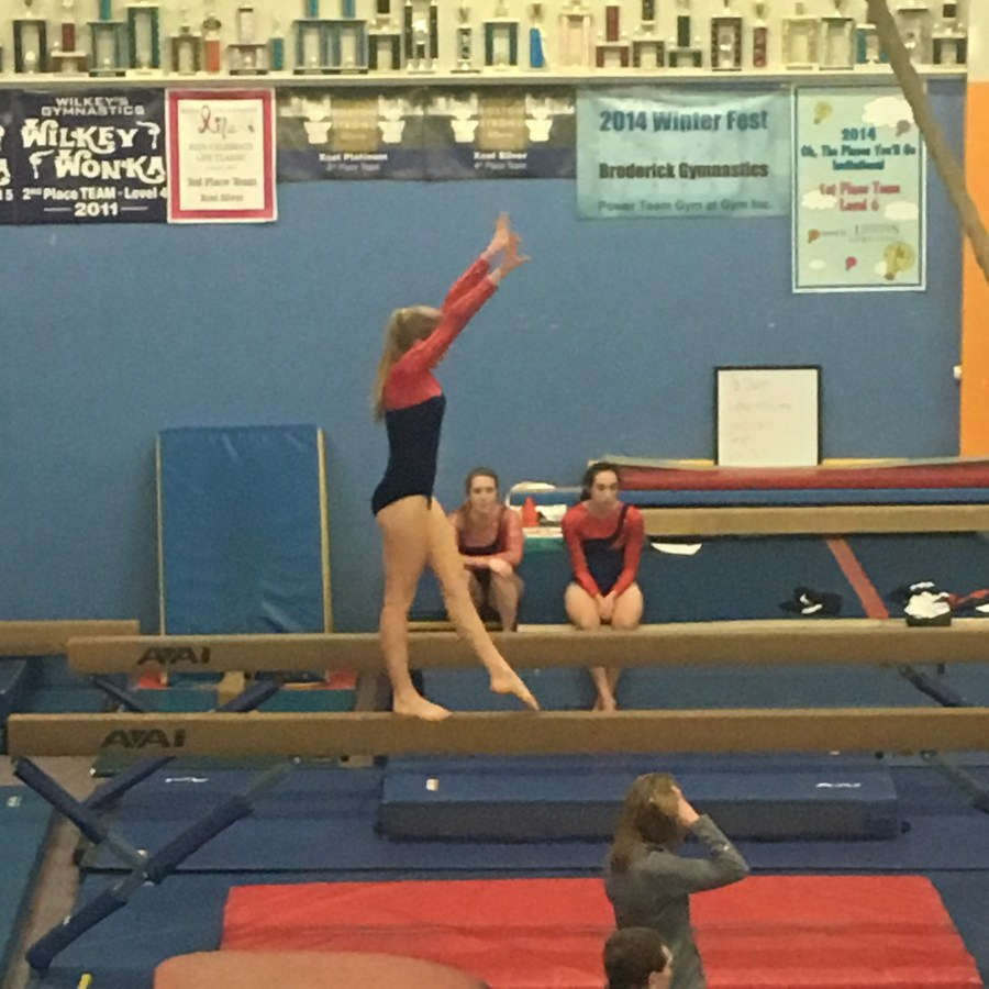 Senior+Kaija+Bariss+performs+a+routine+during+a+meet+this+past+winter+season.+Bariss+and+the+rest+of+the+gymnastics+team+faced+many+challenges+during+the+season%2C+including+the+absence+of+a+coach+at+the+beginning+of+the+year%2C+as+well+as+a+lack+of+training+facilities.+Provided+by+Kyle+Williams.