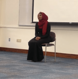 Shamso Ahmed spoke to students during B-block about how her experiences as a Somali refugee inspired her to act to help other refugees; she started a business called International Translation Company, which offers translation services to refugees who now live in the United States.
