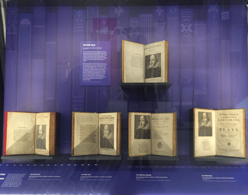 Shakespeare's folios that contain his first drafts of plays are displayed at the Shake- speare in the Boston Public Library, celebrating the 400th anniversary of his death. Jordan Watts/Sagamore Staff
