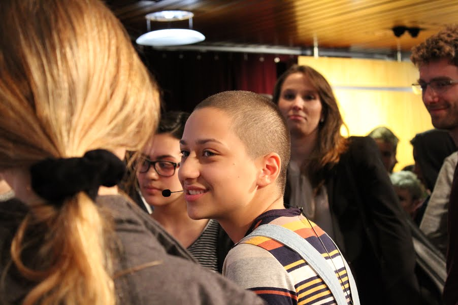 Marjory Stoneman Douglas High School student Emma González speaks with audience members after the March 20 forum at Harvard Kennedy School Institute of Politics.