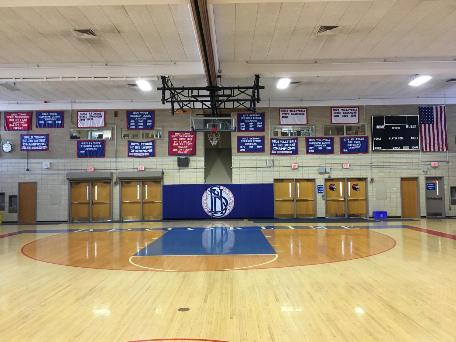 New banners have not ben hung in the Schluntz Gymnasium since 2002.  In addition to banners, there is a trophy room above and in front of the gymnasium that highlights the high school's sports teams' achievements.