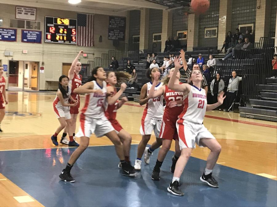 The+girls+varsity+basketball+team+beat+Milton+High+School+with+a+score+of+37-29+on+Feb.+5.+According+to+junior+Bailey+Cohen%2C+the+team+has+worked+especially+hard+this+year.