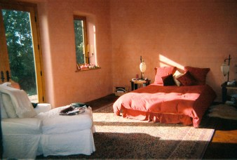 Relaxing hand dyed plaster walls in the Master Bedroom.