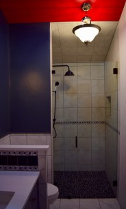 Curbless shower with glass door.