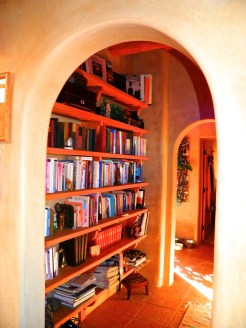 Bookshelf lined hallway with arches.