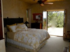 Guest bedroom with french doors to the back patio.