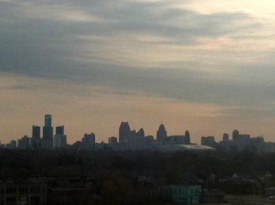 Detroit skyline from the roof of the abandonded Packard plant.