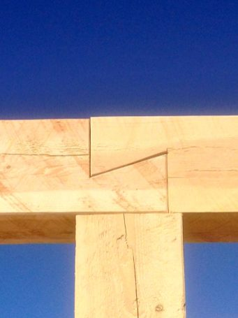 Dovetail joint in beam.