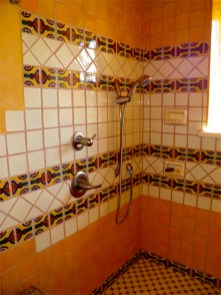 Custom tile in Guest House bathroom.