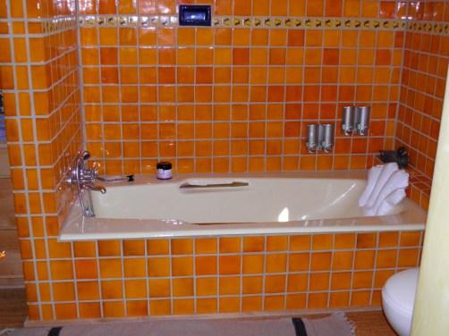 Custom tile surround in first floor bathroom.