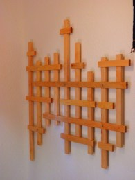 "Custom made Douglas Fir coat rack (no hooks yet,) in a ""Broken Grid"" pattern"