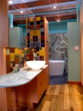 Master Bath Room. Custom Oak cabinetry with Pewabic tile mosaic backsplash.