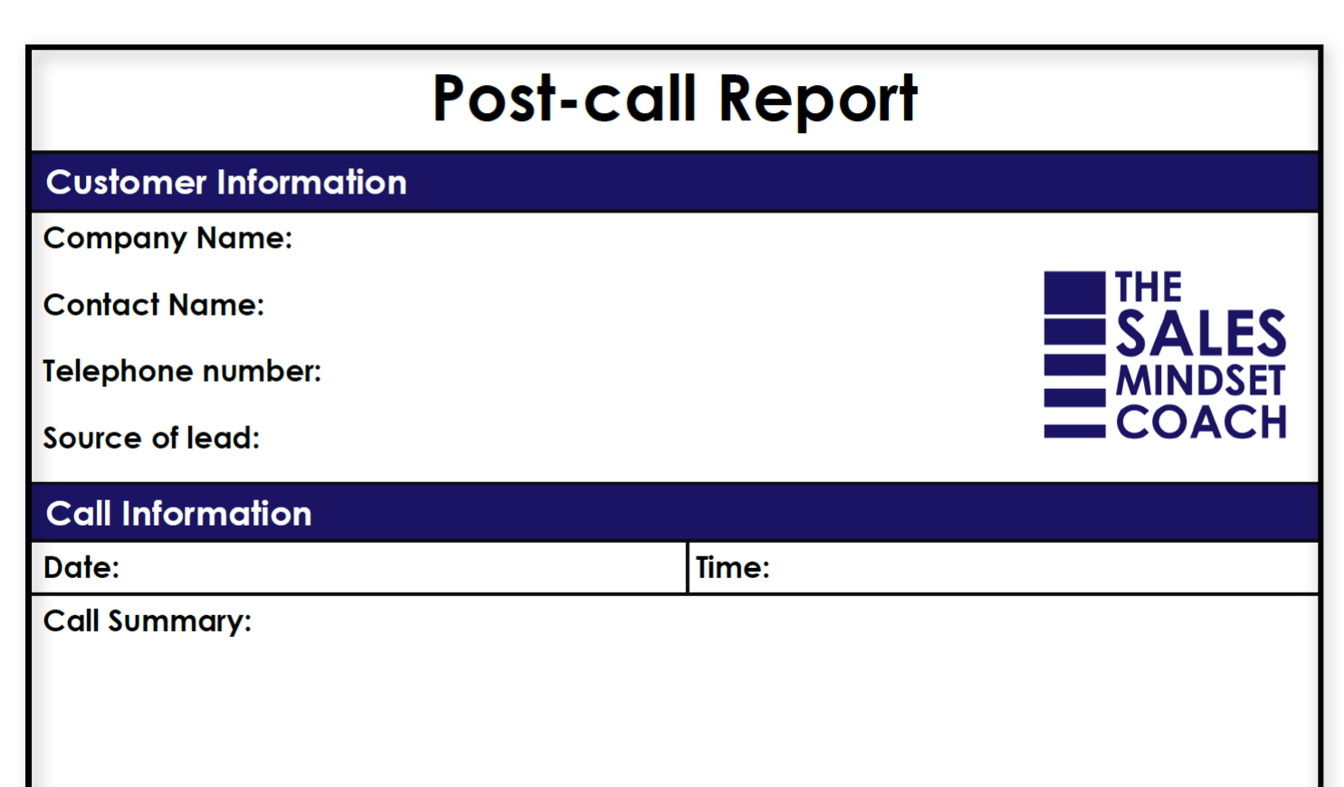 Post Call Report Template