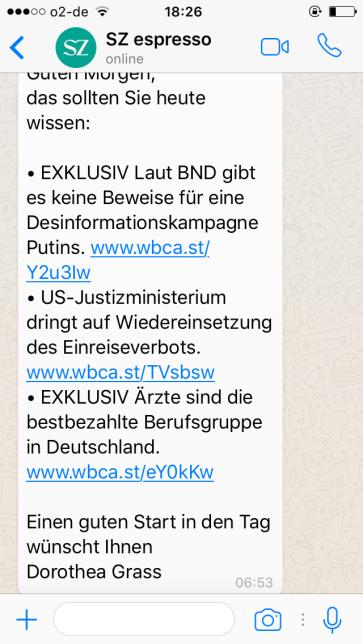 Nachrichten - Screenshot SZ Espresso