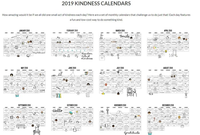 Random Acts of Kindness Calendar 2019 - Full PDF Download