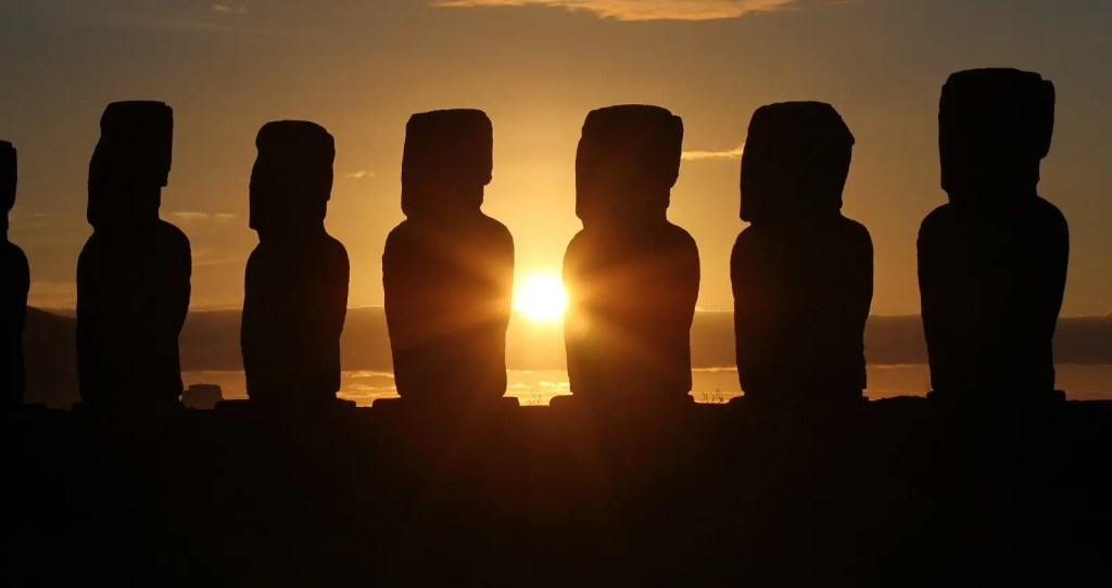 Moai on Easter Island at Sunset