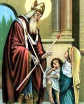 St. Blaise healing a young child. source