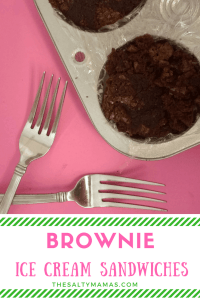Looking for the perfect dessert for your summer BBQ? Try these brownie ice cream sandwiches from thesaltymamas.com. #brownierecipe #icecreamrecipe