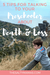 Losing someone you love is hard. Watching your child lose someone they love is almost impossible. Here are 5 tips to help. #grief #processingdeath #talkingtokidsaboutdeath #talkingtokidsaboutdeathtips #deathofalovedone #stagesofgrief #deathanddying #talkingaboutdeath #momlifetips #parentingtips #talkingaboutdeathwithkids #talkingaboutdeathtokids #talkingaboutdeathwithchildren