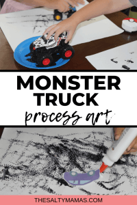 toddler boy painting with monster trucks/toy cars