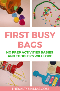 10 Amazing, Engaging, NO PREP Busy Bags for Babies and Toddlers, from TheSaltyMamas.com.