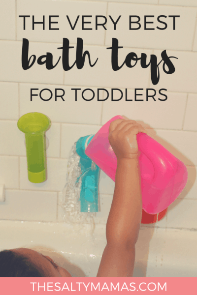 Looking for bath toys for toddlers to keep your little one entertained in the tub? We've got crazy fun toys and activities to turn bathtime into an activity your baby and toddler will love at TheSaltyMamas.com. #bathtime #bathtoys #bathtoysforbabies #bathtoysfortoddlers